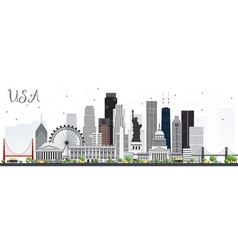 USA Skyline with Gray Skyscrapers vector image vector image