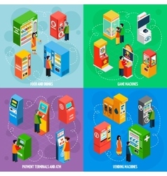 Vending games machines isometric icons square vector