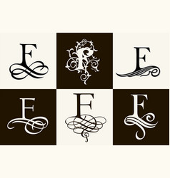Vintage set capital letter f for monograms and vector