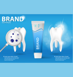 whitening toothpaste ad realistic clean and dirty vector image vector image