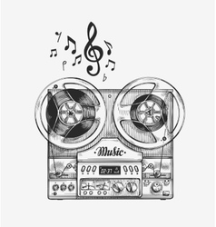Hand-drawn vintage reel to tape recorder sketch vector