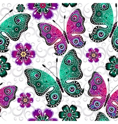 Seamless floral pattern with butterflies vector