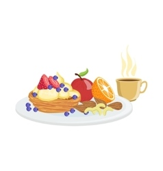 Cake fruit and coffee breakfast food drink set vector