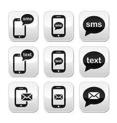 Mobile sms text message mail buttons set vector image