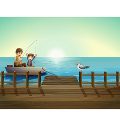 A father and a child fishing near the bridge vector