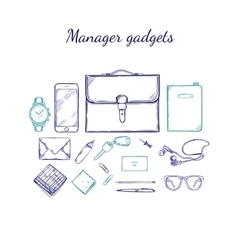 Manager accessories sketch set vector