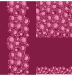 Set of red bubbles seamless pattern and borders vector