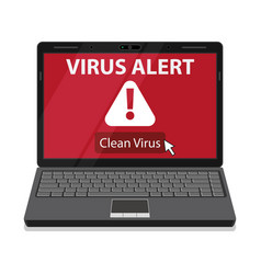 Laptop and virus alert message on screen vector