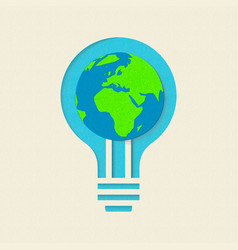 earth day green light bulb paper cut design vector image
