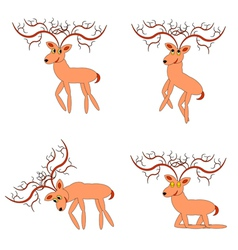 Funny deers on a white background vector
