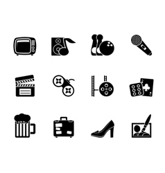 Silhouette leisure activity and objects icons vector