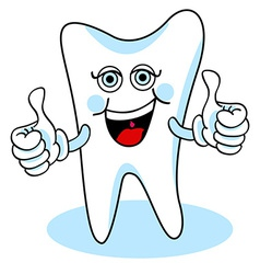 Two thumbs up cartoon tooth vector