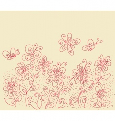 flowers and butterflies design vector image