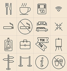 Exhibition line icons vector