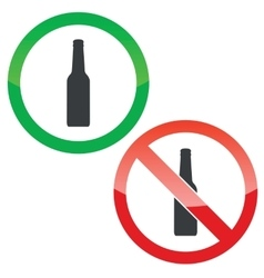 Alcohol permission signs set vector