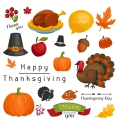 Set of happy thanksgiving day holiday objects and vector