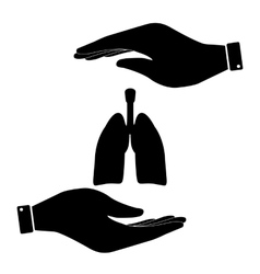 Lungs in hand icon vector