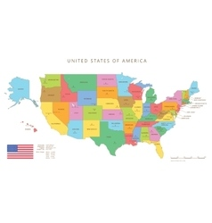Colored united states map with names and capitals vector