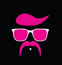 Face with mustache in pink vector