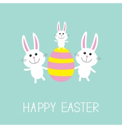 Happy easter three bunny rabbit family and striped vector
