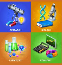 Science 2x2 design concept set vector