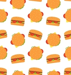 Seamless Pattern with Hamburgers Fast Food vector image