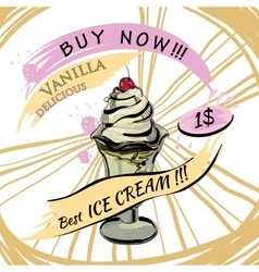 Vanilla ice-creame with price popsicle on a white vector