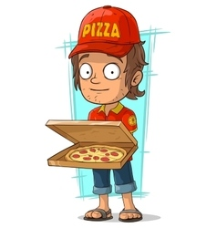 Cartoon delivery man with open pizza box vector