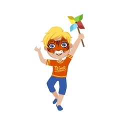 Boy with tiger make up vector