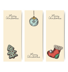 Christmas vertical banners wintage drawings style vector