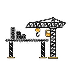 Construction tower crane cabin scaffold equipment vector