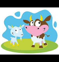 Cow and goat vector