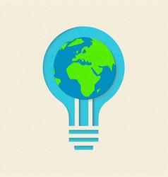 earth day green light bulb paper cut design vector image