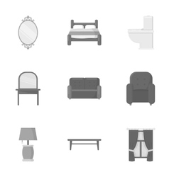 Furniture set icons in monochrome style Big vector image