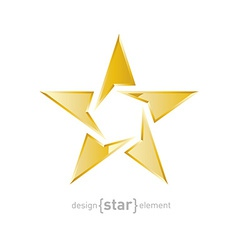 Gold star on white background vector image