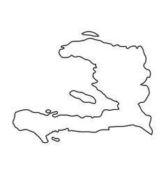 Haiti map of black contour curves on white vector