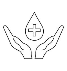 Hands holding blood drop icon outline style vector
