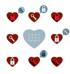 Love theme icons set with padlock and key open vector image vector image
