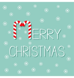 Merry christmas candy cane text snowflake flat vector