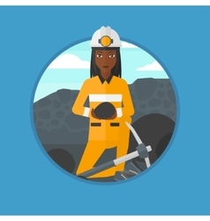 Miner with coal in hands vector