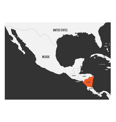 Nicaragua orange marked in political map of vector