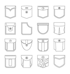 pocket types icons set outline style vector image