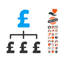 Pound hierarchy icon with dating bonus vector