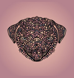 Pug with ethnic floral ornaments for adult vector