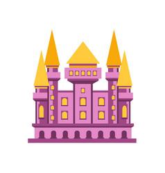 purple fairytale royal castle or palace building vector image