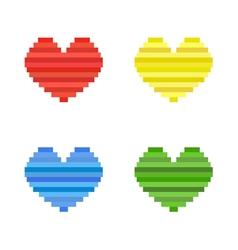 Set of pixel art heart flat design symbol of love vector