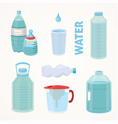 set plastic bottle of pure water different bottle vector image vector image