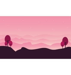 Silhouette of hill landscape with pink backgrounds vector image
