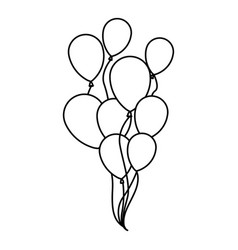 Silhouette sketch set flying balloons decorative vector