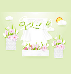 Spring season concept window with flowers baskets vector